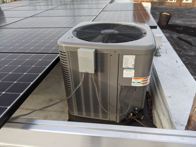 The condenser for our heat pump. It dissipates heat in the summer and dispels cold air in the winter.