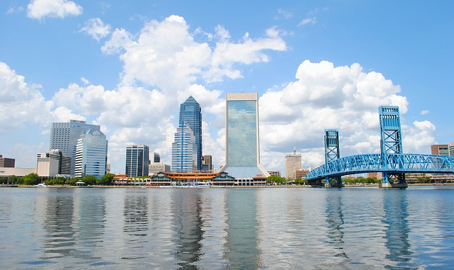 a shot of the skyline in Jacksonville