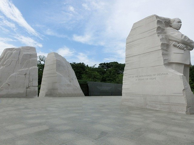 picture of granite carving of Martin Luther King Jr. at memorial in D.C.
