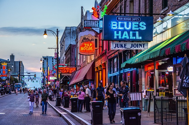 shot of Beale Street with neon lights