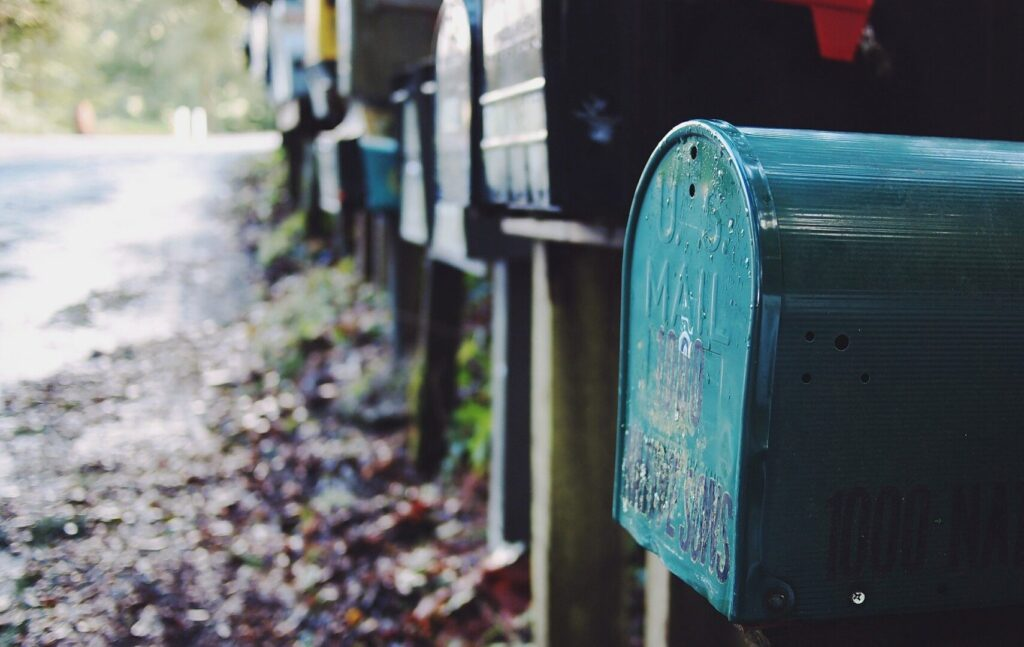 Line of mailboxes
