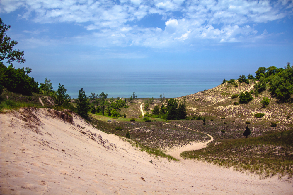 View of Lake Michigan over the dunes at Indiana Dunes National Park