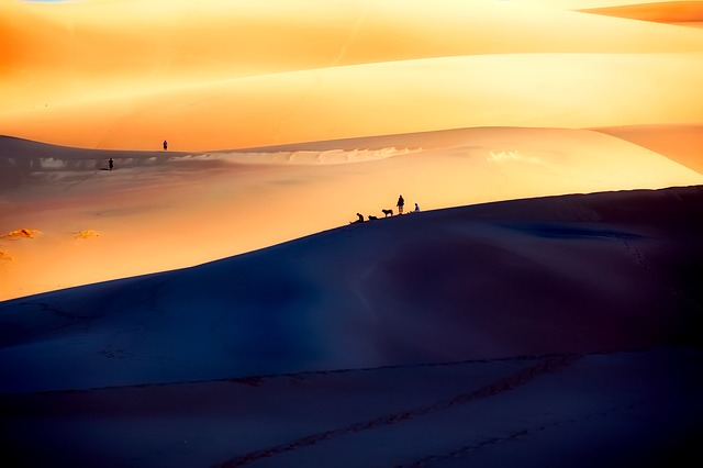 people silhouetted against the Great Sand Dunes in Colorado