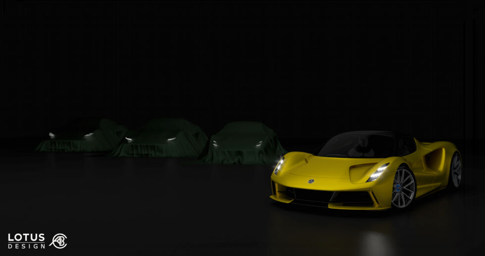 The yellow car is the Lotus Evija, a very expensive, very powerful electric supercar which will be built in tiny numbers. But the Type 131 should be much more attainable.
