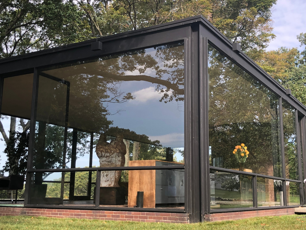 NEW CANAAN, CT - OCT 2: The Glass House by Philip Johnson in New Canaan, Connecticut, as seen on Oct 2, 2019.