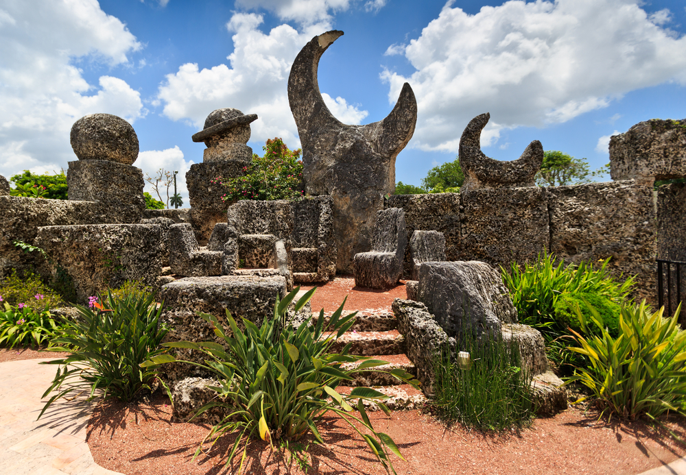 HOMESTEAD,FL-23JUNE 2014:Coral Castle to the North of the city of HOMESTEAD, Florida in June 2014. Is a stone structure created by an eccentric Latvian emigrant in the United States Edward Leedskalnin