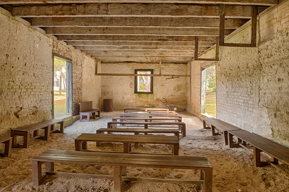 JACKSONVILLE, FLORIDA - JANUARY 18, 2015 : Interior of the Kingsley Plantation Barn built from a mix of sand, lime, and water. Hdr processed.