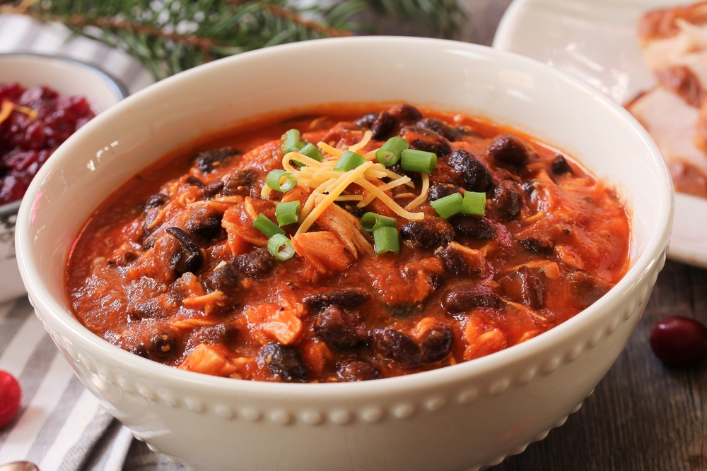 Homemade Turkey Chili with beans and scallions