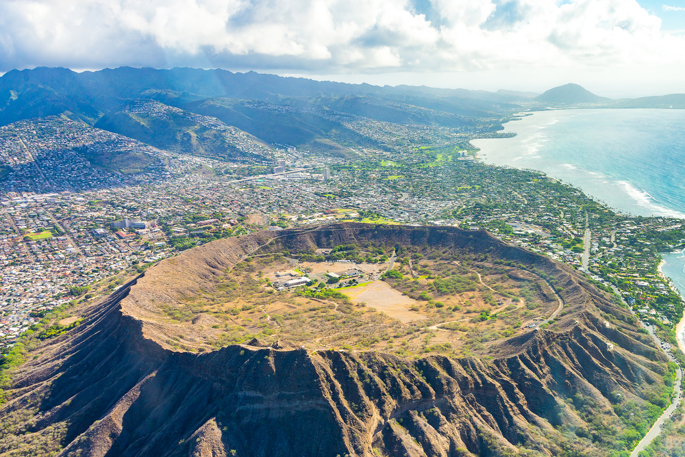 Absolutely amazing aerial view on the Hawaii island with a Diamond head crater and Honolulu city skyline view.  I