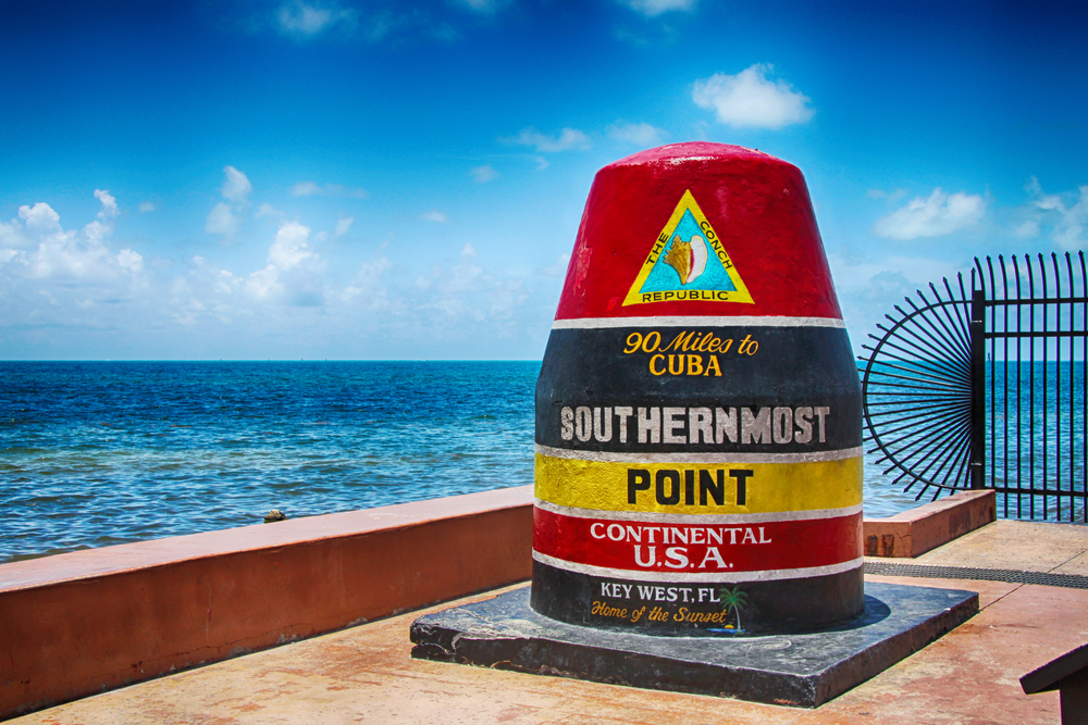 Southernmost Point Continental USA at Key West, Florida. The picture shows the famous landmark of the southernmost point of the USA. HDR