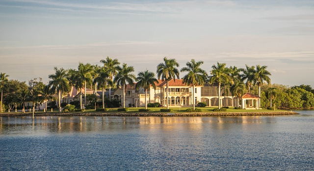 a large mansion across the water in Naples, Florida