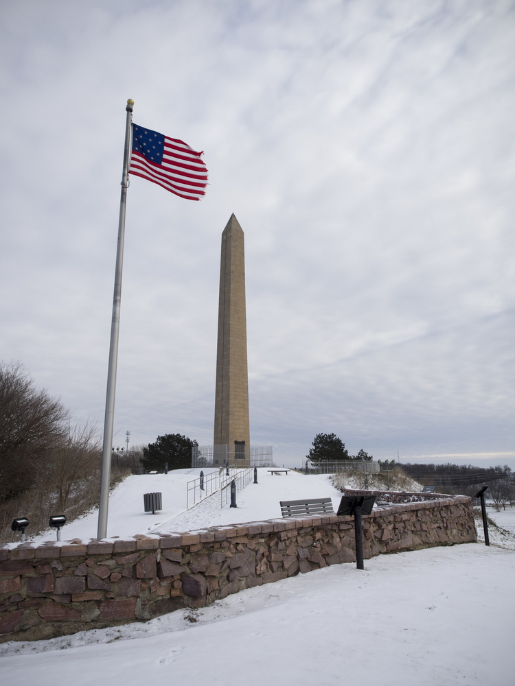 Sergeant Floyd Monument in Winter Overcast with Snow