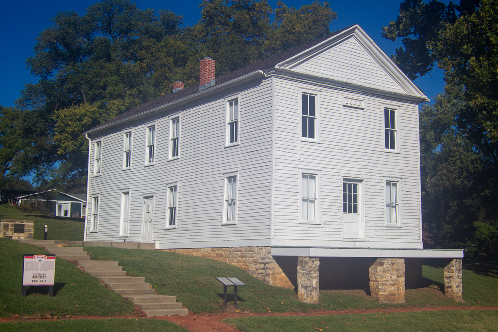 Constitution Hall, in Lecompton, the former capital of the Kansas Territory, where Kansas attempted to join the Union as a slave state, which was blocked by Congress. Lecompton, Kansas, USA