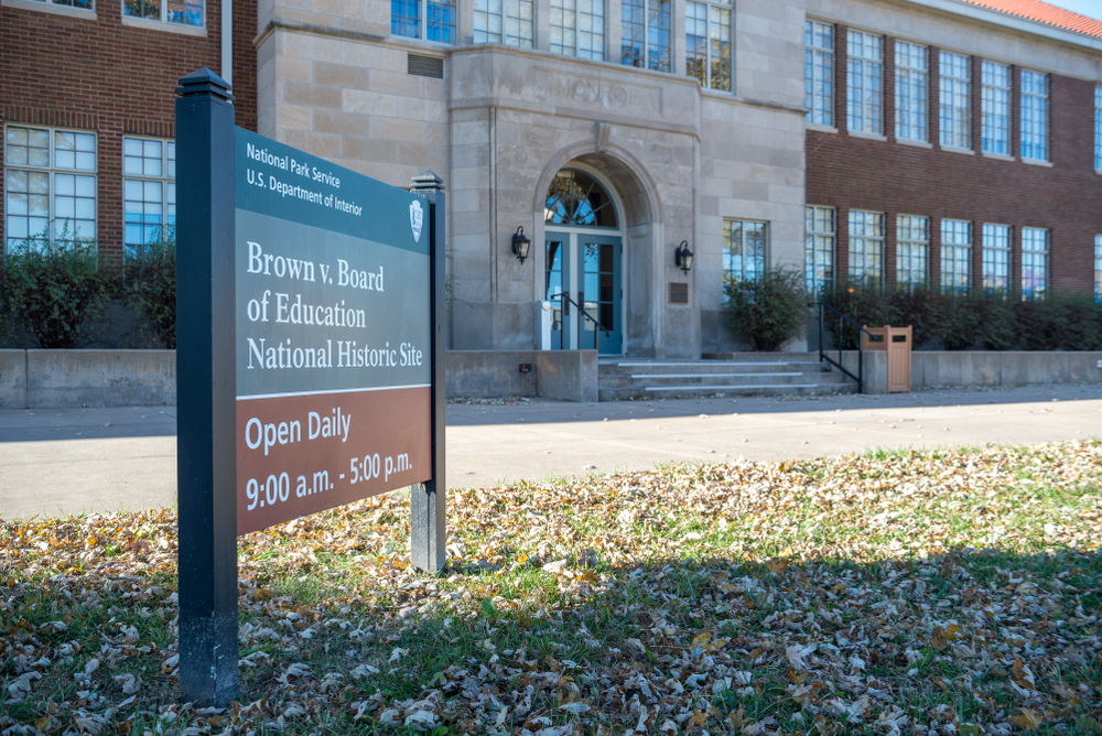 Topeka, Kansas / United States of America - November 2nd 2019 : Brown v. Board of Education National Historic Site. Exterior of building, eastern facade with main entrance.