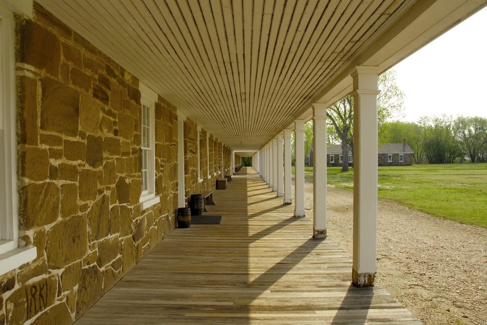 Front porch of enlisted mens quarters at the fort