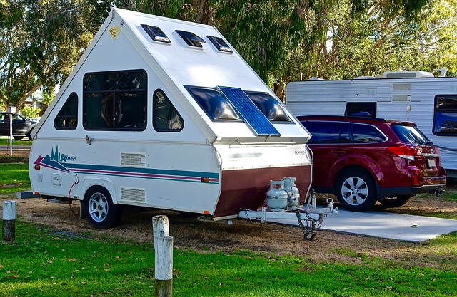 trailer set up for camping