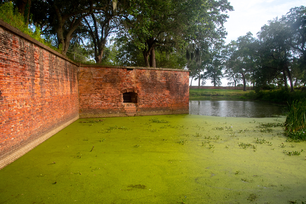 The walls and moat of Ft Jackson, Louisiana in the Mississippi river delta