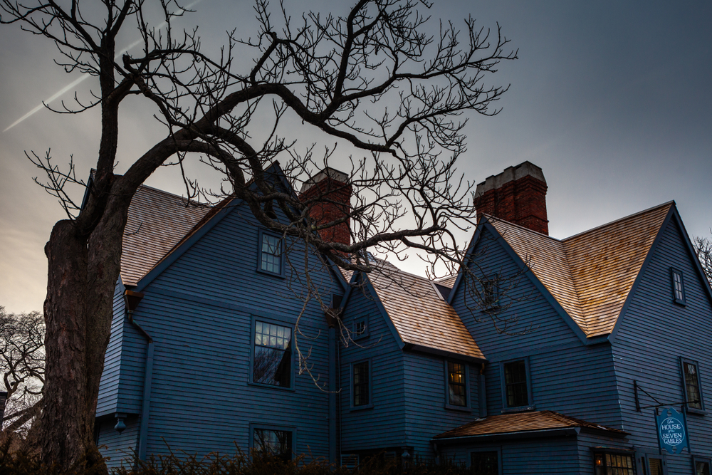Salem, USA- March 03, 2019: The House of the Seven Gables museum in Salem, Massachusetts that inspired the novel by American author Nathaniel Hawthorne.