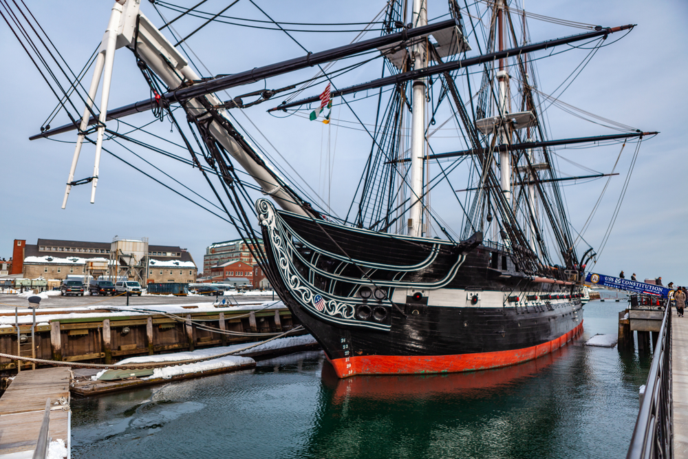 March 8th 2019. Boston USA - The ship USS Constitution at the end of Boston's Freedom Trail as part of museum at the Boston National Historical Park, United States.