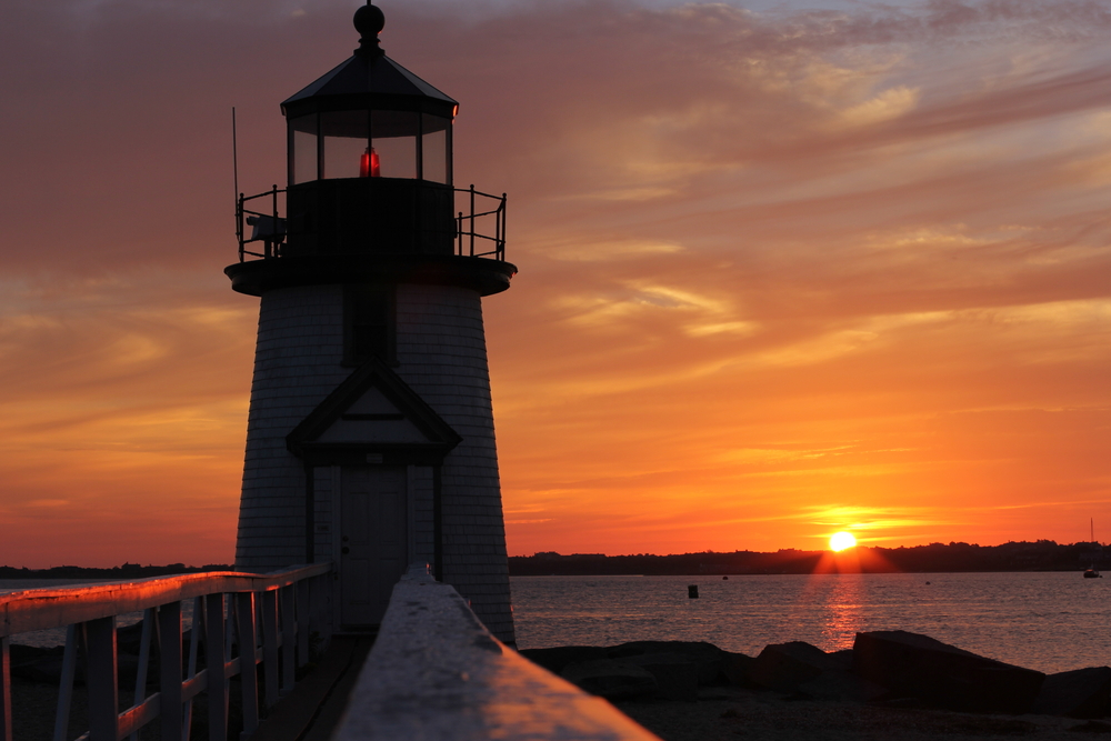 Brant Point Sunrise. Morning Lighthouse Sunrise on Brant Point, Early Morning Reflections in Natucket