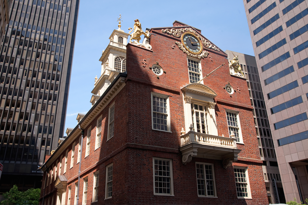 Old South Meeting House, the site of March 5, 1770 Boston Massacre at Freedom Trail in Boston, MA