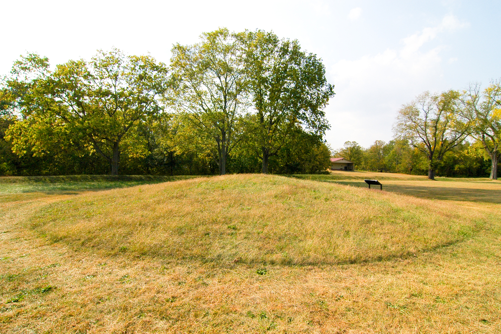The Hopewell peoples constructed mounds similar to this one near present-day Grand Rapids, Michigan
