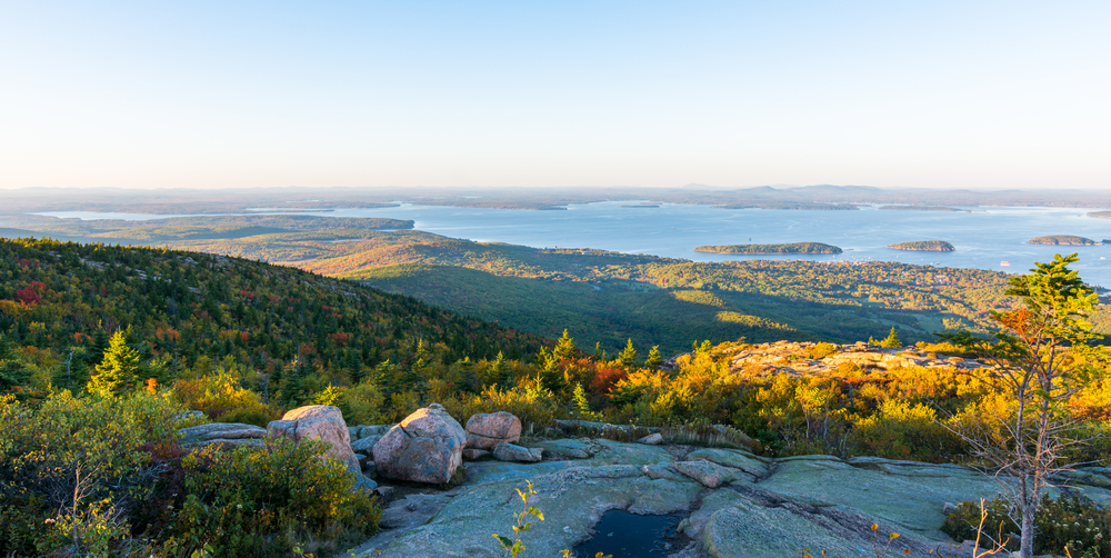 View from Cadillac Mountain, Acadia National Park Maine. On a clear sunny day