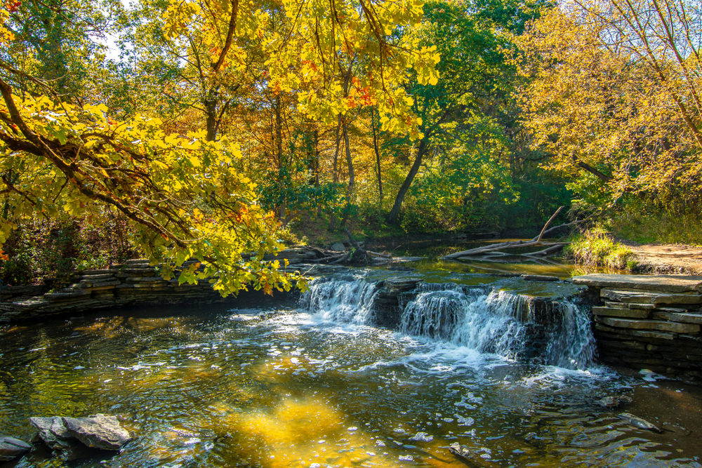 Waterfall surrounded by trees in Glen Forest Preserve in Illinois.