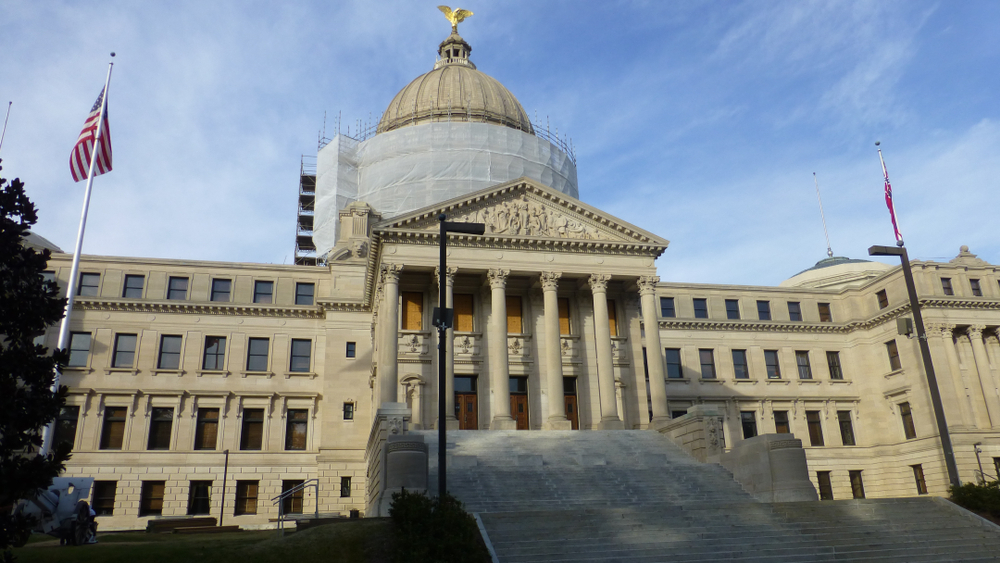 View of the State Capitol building in Jackson, Mississippi. November 2014