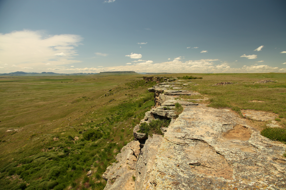 The buffalo jump hill at First Peoples Buffalo Jump State Park in Montana