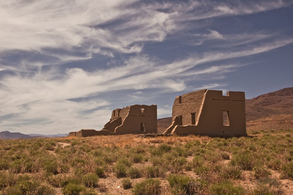 Ruins of old western Fort Churchill from Fort Churchill State Park in Nevada outside Reno