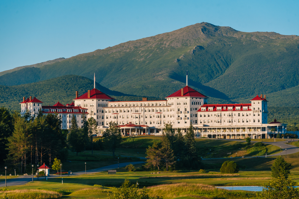 View of the Mount Washington Hotel, in the White Mountains of New Hampshire