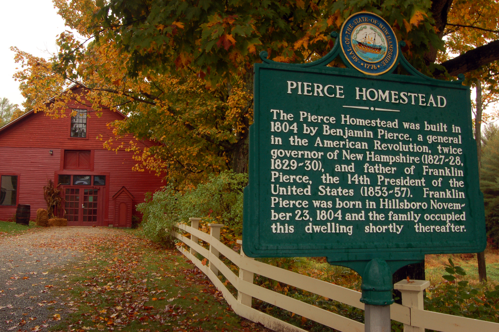 Hillsborough, NH, USA October 11 A sign marks the location of the Pierce Homestead, home to US President Franklin Pierce, in Hillsborough, New Hampshire