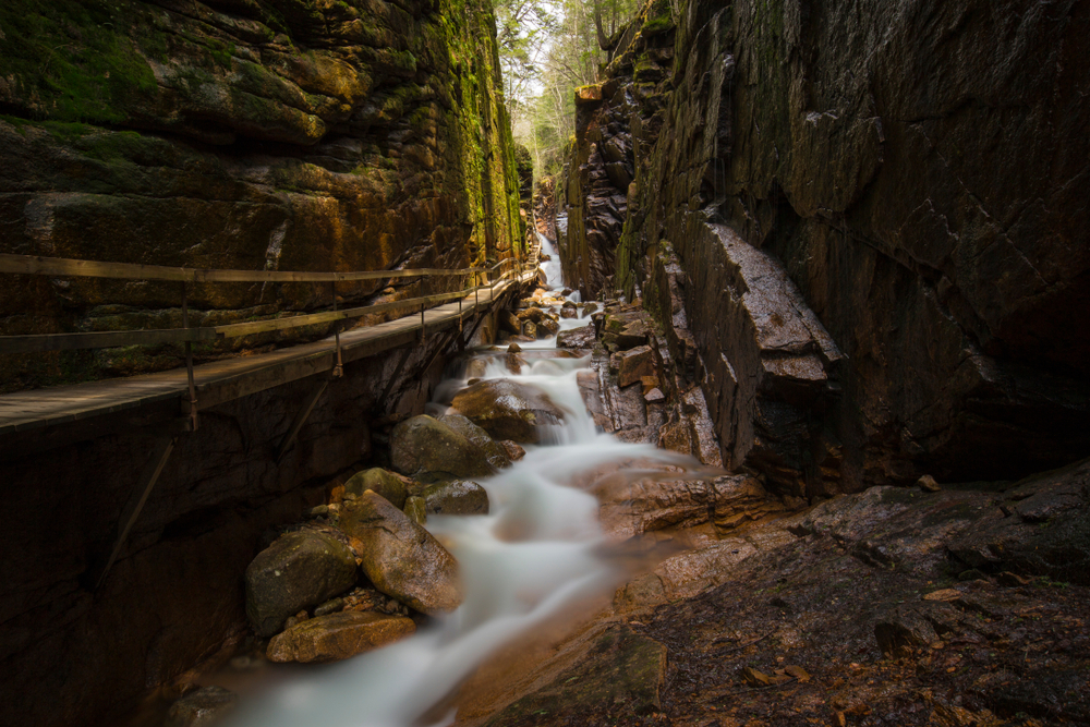 Flume Gorge in Franconia Notch State Park, New Hampshire USA