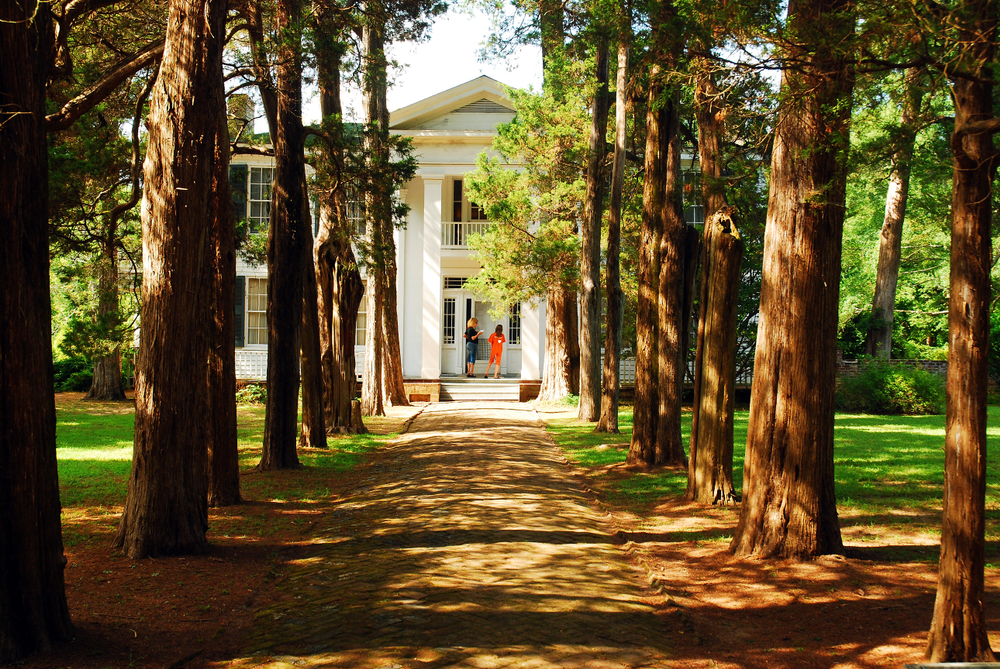 Oxford, MS, USA July 21 Two adult women visit Rowan Oak, William Faulkner's home in Oxford, Mississippi