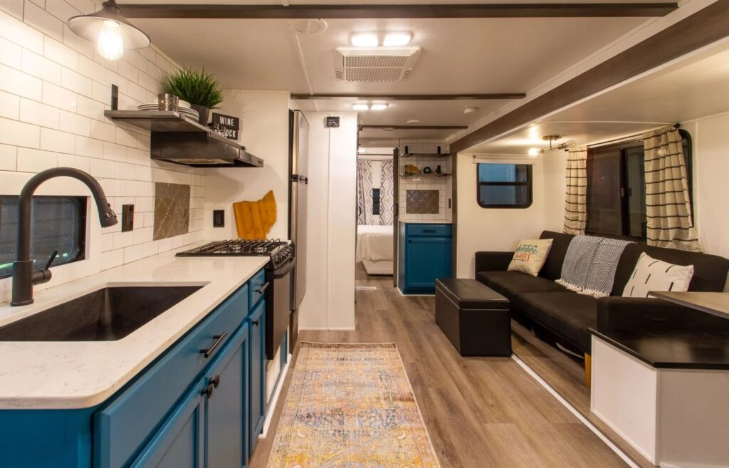 Painted and remodeled RV living area