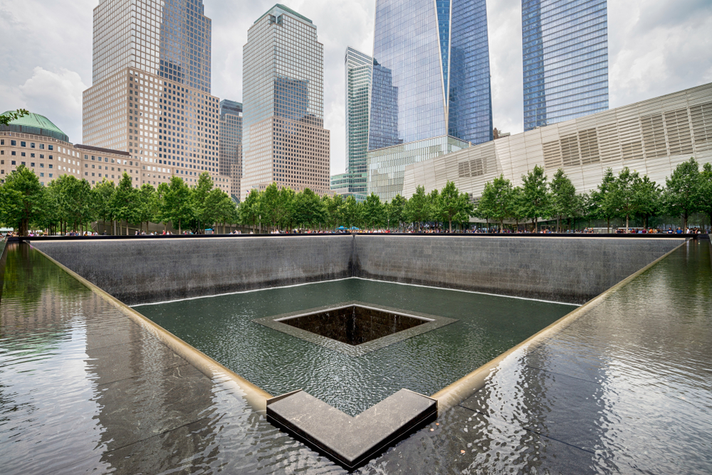 NEW YORK CITY - JULY 13, 2017: Memorial at World Trade Center Ground Zero The memorial was dedicated on the 10th anniversary of the Sept. 11, 2001 attacks.