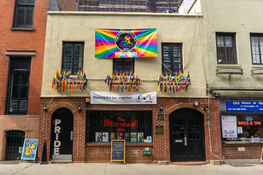 New York, USA - August 20, 2018: The Stonewall Inn is a gay bar in the Greenwich Village, Lower Manhattan, New York City, and the site of the Stonewall riots of 1969 event celebrated by Gay Pride