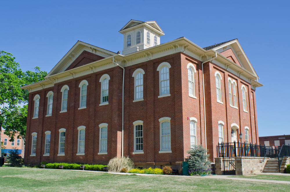 Tahlequah, Oklahoma / USA - April 21, 2019: The exhibits of the Cherokee National History Museum are housed in the original capitol building of the Cherokee tribe in Tahlequah, Oklahoma.