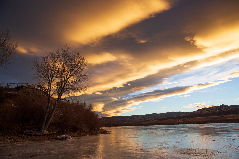 Landscape view of Chatfield State Park during sunset in Littleton, Colorado.