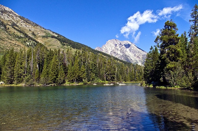 String Lake at the bottom of picturesque mountains in Grand Teton National Park