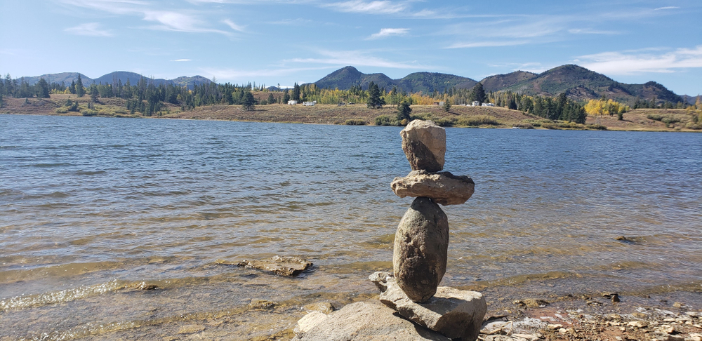 Rock stack at Steamboat Lake State Park