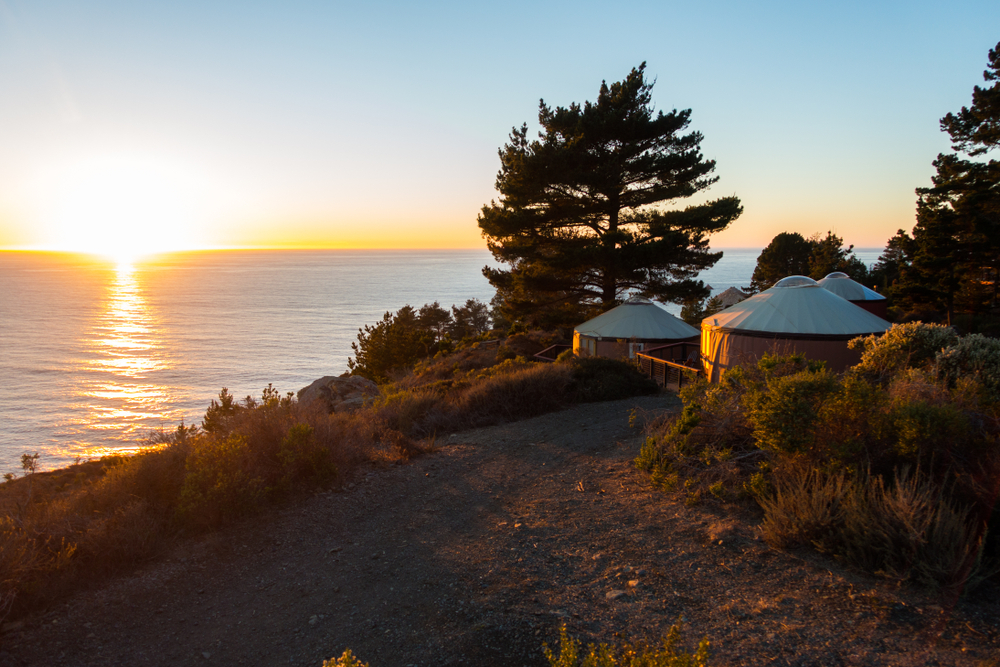 A cluster of yurts surrounded by trees on a hill above an ocean shore.