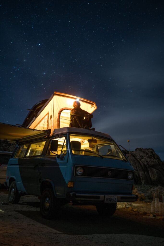 a campervan with lights in the roof