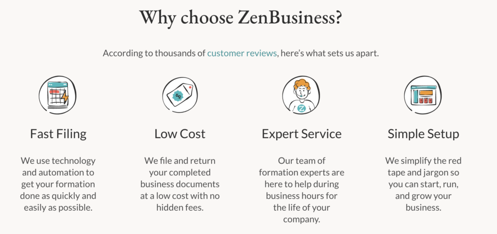 Reasons to choose ZenBusiness as an LLC provider