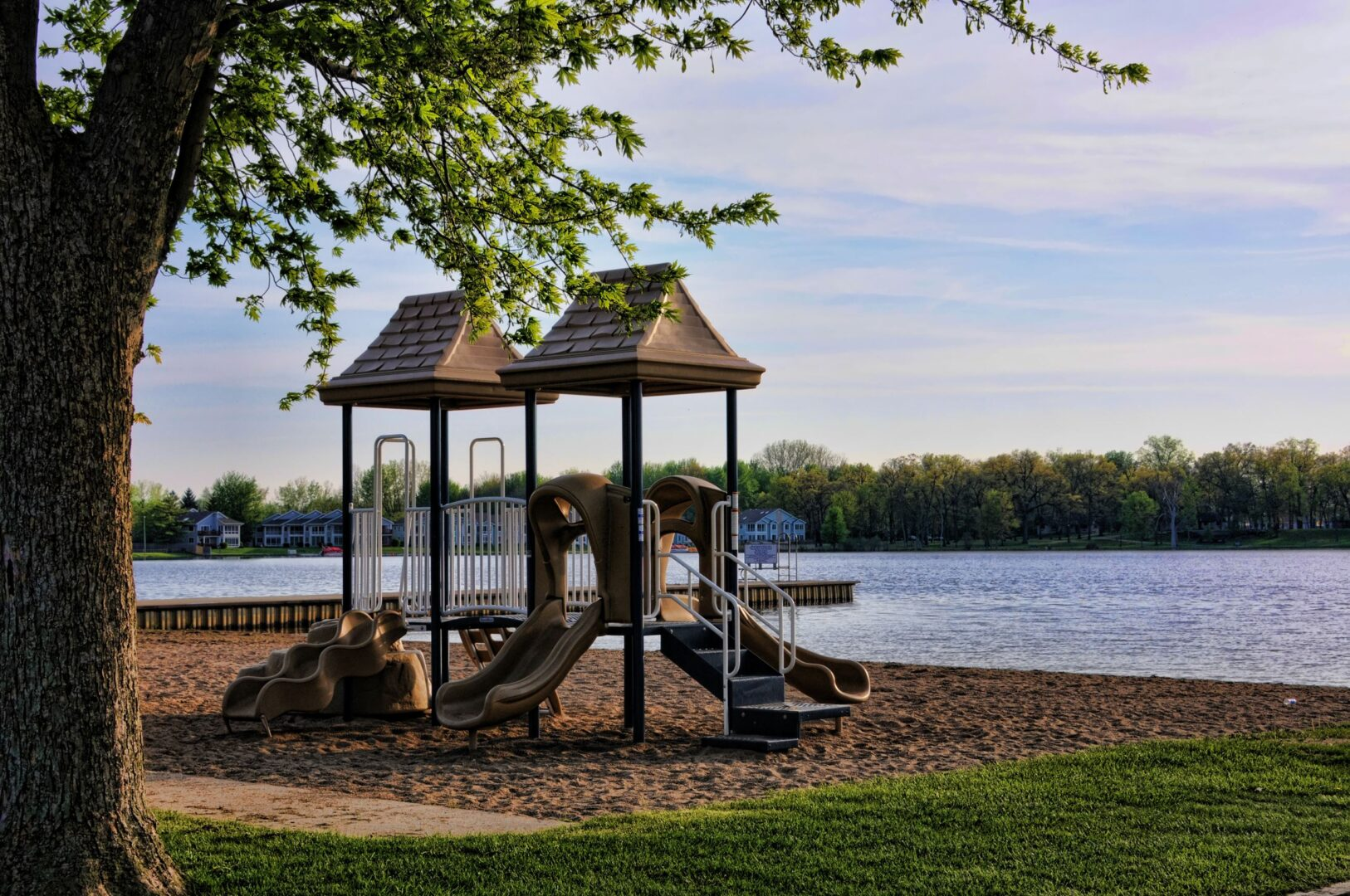 Pike Lake Beach offers playgrounds among other amenities