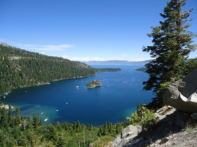 Emerald Bay at Lake Tahoe with many boats dotting the water