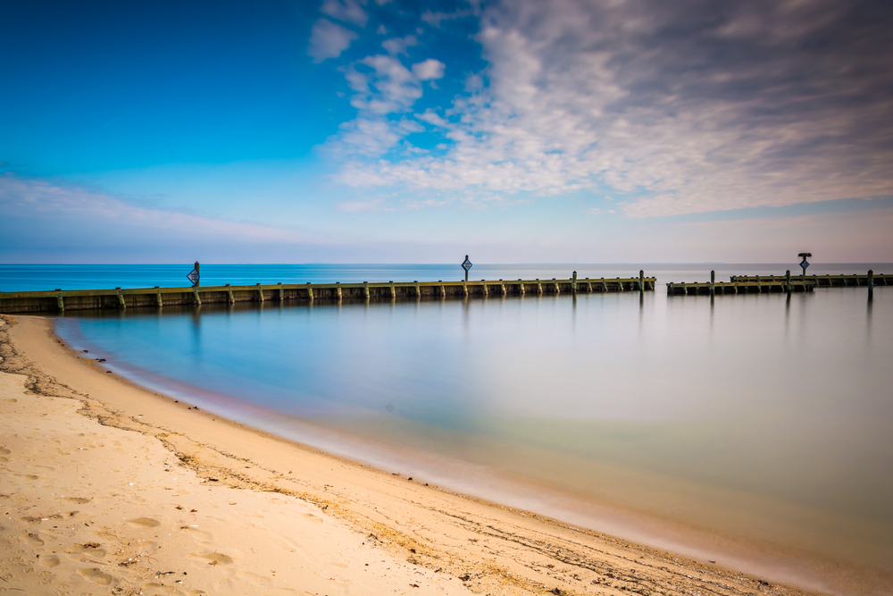 Long exposure on the shore of the Chesapeake Bay, in North Beach, Maryland.
