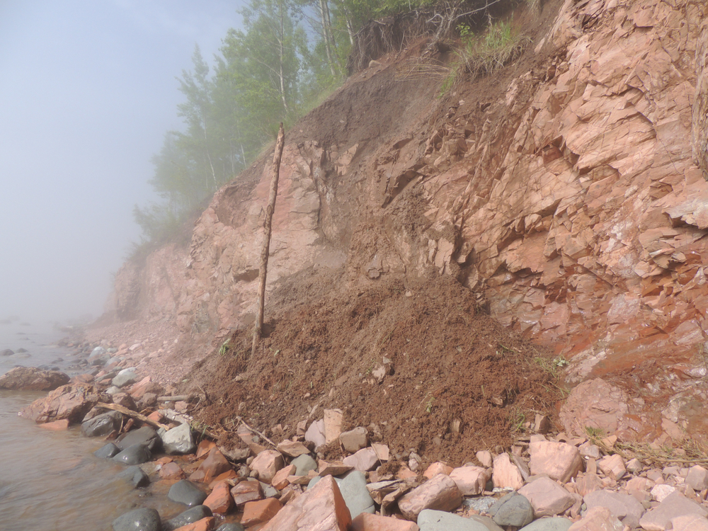 Cliff erosion on the shore of Lake Superior at Iona's Beach near Two Harbors, Minnesota, after a rainfall