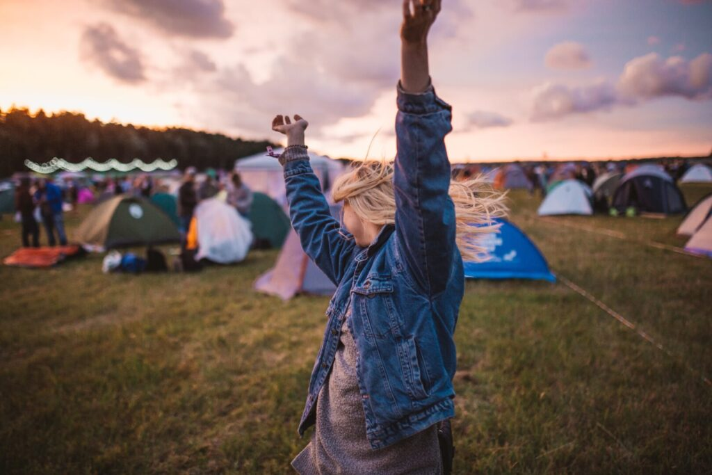 Dancing and festival camping